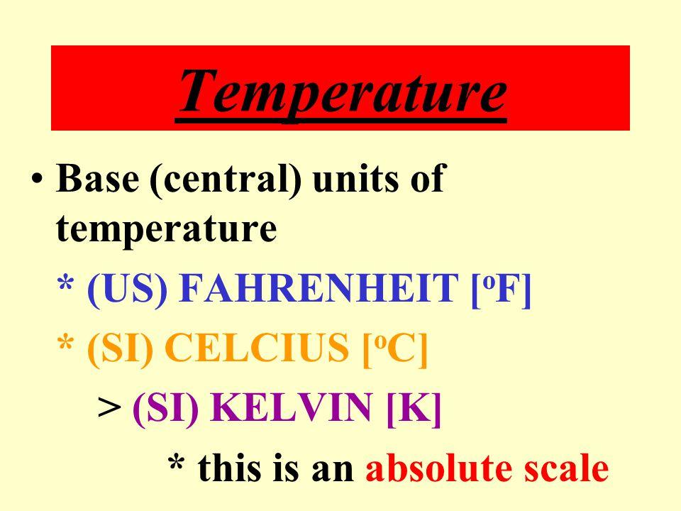 Temperature Base (central) units of temperature * (US) FAHRENHEIT [oF]